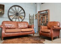 Parker Knoll Vintage Leather Sofa & Armchair Tan Castor Legs