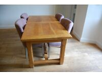 French Oak Table (Chairs in picture Sold Separately) 1.8m length, extends to 2.6m