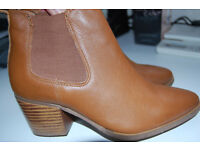 Next Ladies Tan Leather Ankle Boots Size 3.5 (36)