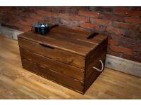 Large Rustic Wood Oak Chest Trunk Blanket Box Vintage Coffee Table Cottage