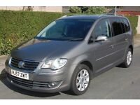 2007 VOLKSWAGEN TOURAN 2.0 TDI SPORT DIESEL 7 SEATER IN GREY WITH FULL BLACK LEATHERS, HEATED SEATS
