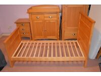 NEXT Nursery furniture - Cotbed, changing unit, wardrobe, set of 3 drawers and shelf - Solid pine