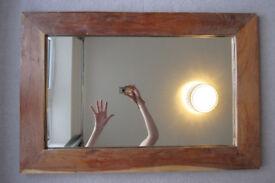 Mirror with wooden frame, 90 cm x 60 cm x 2.9 cm