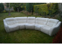 5 piece curved leather sofa.