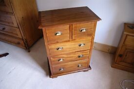 Hardwood chest of drawers, good condition.
