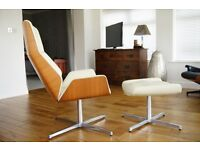 Boss Design Kruze Office Lounge Chair and Footstool Leather and Oak