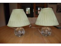 Two Laura Ashley Lydia Crystal Lamp table lamps base with Laura Ashley Fenn double pleat shade