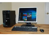 HP Tower PC with LCD Monitor. Wi-Fi Internet. Dual Core, 4GB RAM, Win 10. Excellent Condition.