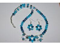Sparkly blue beaded necklace, bracelet and ear rings handmade lovely gift