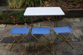 Lafuma Camping Table and Three Stools.
