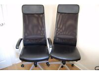 Two IKEA black leather-look fully adjustable swivel office chairs for sale