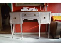 Mid Century Hepplewhite style sideboard, hall table, painted and distressed, bow fronted console.