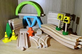 Two kids wooden train sets
