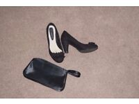 John Rocha suede heels and black satin clutch
