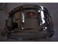 "Yamaha SD296 Recording Custom steel snare drum 14 x 6 1/2"" - Japan - Pink badge"