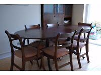 SOLID WOOD DINING EXTENDED TABLE WITH 6 CHAIRS + FREE DELIVERY