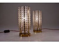 Hillebrand table lamps Lucite beads & brass, 1970`s ca German