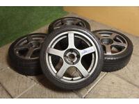 "Genuine Compomotive RS170 17"" Alloy wheels 4x114.3 S12 S13 180SX 200SX Skyline JDM Alloys drift"