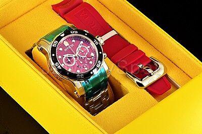 Invicta 48mm Pro Diver Scuba Burgundy Red Chronograph Silver Steel Watch W/Strap