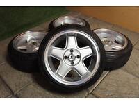 "Genuine Schmidt Modernline 15"" Alloy wheels & Tyres 4x100 Alloys Polo Golf Clio Corsa Civic Mx5"