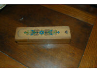 Vintage wooden two tier pencil box with flowers on top