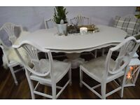 Shabby Chic Wood Italian Style Dining Table with 6 Chairs Dove Grey
