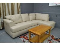 EX DISPLAY Stockwell Rh Corner Sofa Taupe Leather - REAL LEATHER