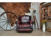 Thomas Lloyd Chesterfield Vintage Leather Armchair Ox Blood