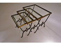 Rene Drouet nesting tables, iron & bronze, 1950`s ca, French
