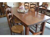 Solid oak French table and 6 chairs