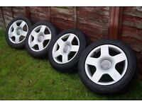 "16"" Audi Sport S-Line Alloys Wheels* 4x tires 205-55-16 * 5x112 *A4 Golf Passat"