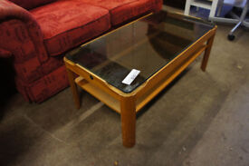 Glass top coffee table available now