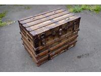 Old Victorian steamer trunk travel chest
