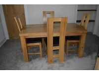 Solid Oak Dining Table, Chairs and Sideboard