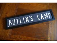 "Vintage original linen ""Butlin's Camp' sign - professionally framed - unique Xmas present!"