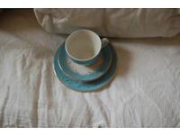 Vintage blue Riband tea set, 6 tea cups saucers and plates