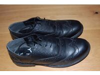 Black real leather boys school shoes size 4