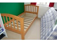 Wooden bunk bed or single bed w mattress