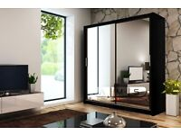BRAND NEW BERLIN 2 DOOR MIRRORED SLIDING WARDROBE WITH SHELVE HANGING RAIL IN BLACK OAK WALNUT WHITE