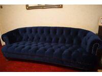 Brand New Royal Blue Velvet Chesterfield 3-4 seat Sofa