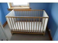 cot with mattress and mothercare bedding