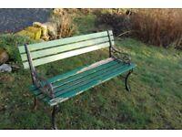 Garden Bench - Vintage/cast iron & wood
