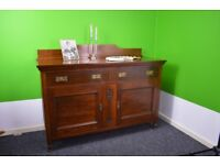 Sideboard, Art Nouveau - c. 1890, made of solid walnut, dining dressing table, antique side cabinet