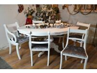 Shabby Chic Italian Dining Table & 6 Chairs White & Silver Grey Velvet
