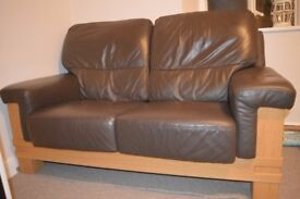 2 LEATHER SOFAS - CHOCOLATE BROWN COLOUR