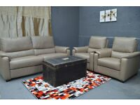 G PLAN REAL LEATHER 3 SEATER +2 ARMCHAIRS
