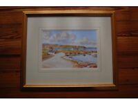 Sam Mclarnon Mc larnon watercolour of Portballintrae painting picture in gold frame north coast