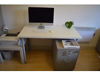 Ikea white desk with pearl grey legs. Lack side table in same grey. £10
