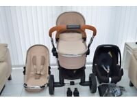 ICANDY PEACH 3 LIMITED EDITION BUTTERSCOTCH PRAM PUSHCHAIR & MAXI COSI PEBBLE CAR SEAT