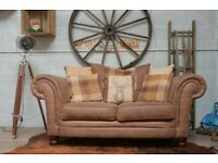 Chesterfield Vintage Suede 2 Seater Sofa Brown Studs + Cushions